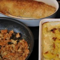 Inbakad fläskfilé och krämig potatisgratäng
