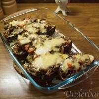 Köttfärs fylld och gratinerad aubergine!