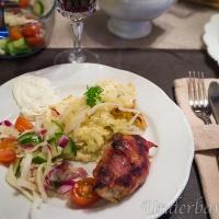 Baconlindad kycklinglårfilé och potatispaté!